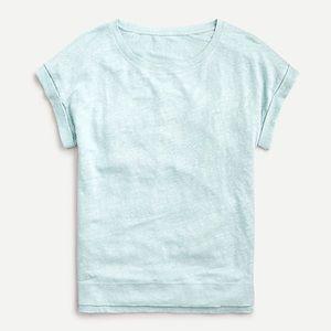 New J Crew Linen Rolled Cuff Sleeve T-Shirt